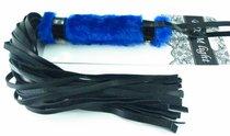 Нежная плеть с синим мехом BDSM Light - 43 см - БДСМ арсенал