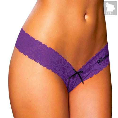 Кружевные трусики-тонг Barbaris, цвет фиолетовый, M-L - Hustler Lingerie