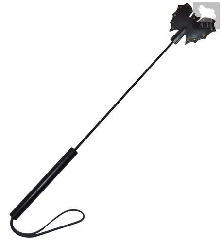 Стек с черным матовым кожаным шлепком в виде летучей мыши - 60 см, цвет черный - Sitabella