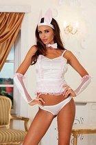 Нежный костюм зайки с кружевной отделкой, цвет белый/розовый, S-M - Xsensual lingerie