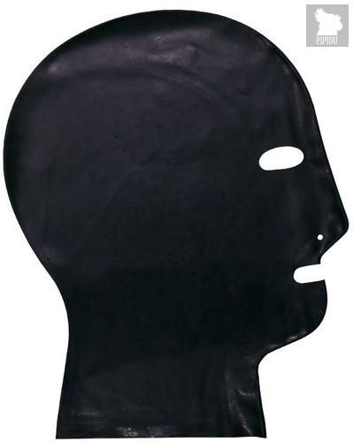 Латексный шлем-маска с прорезями для глаз и дыхания, цвет черный, L - Latexas