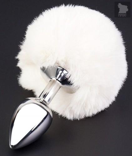 Серебристая анальная втулка с пушистым белым хвостом, цвет белый - МиФ