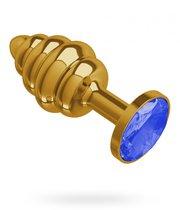 Золотистая пробка с рёбрышками и синим кристаллом - 7 см, цвет золотой/синий - МиФ