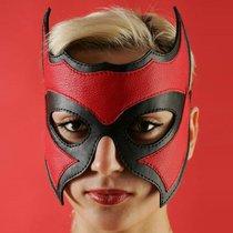 Кожаная маска-очки с красной вставкой, цвет красный/черный - Подиум