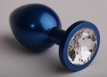 Анальная пробка металл 8,2 х 3,5см синяя с прозрачным стразом размер-S 47196-3-MM - Eroticon