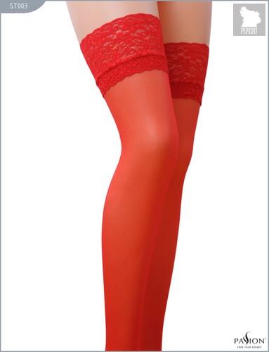 Классические тонкие чулки с кружевной резинкой, цвет красный, размер L-XL - Passion