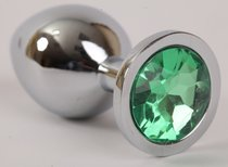 Анальная пробка серебряная с зеленым кристаллом 3,4х8,2 47046-1-MM - Eroticon