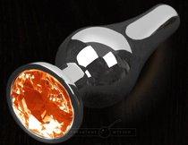 Серая анальная пробка с оранжевым кристаллом - 12 см., цвет оранжевый - Пикантные штучки