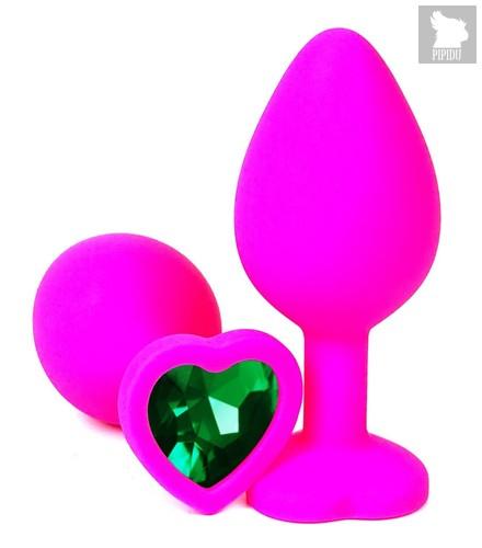 Розовая силиконовая пробка с зеленым кристаллом-сердцем - 9,5 см., цвет зеленый - Vandersex