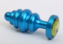 Синяя ребристая анальная пробка с зеленым кристаллом - 7,3 см. - 4sexdreaM