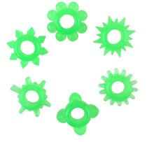 Набор из 6 зелёненьких эрекционных колец, цвет зеленый - Toyfa