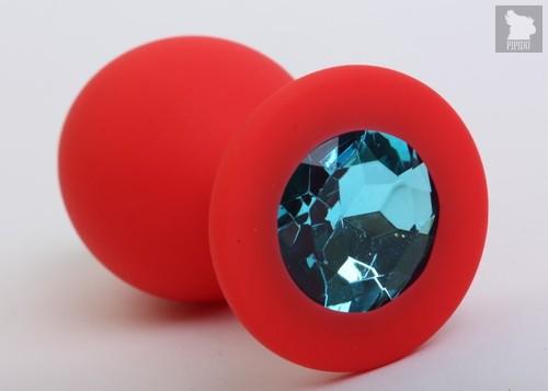 Красная силиконовая пробка с голубым стразом - 8,2 см., цвет красный - 4sexdreaM