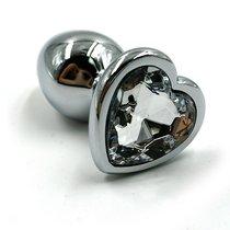 Анальная пробка со стразом Aluminium Silver Heart - Medium, цвет серебряный/прозрачный - Kanikule