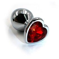 Серебристая анальная пробка с красным кристаллом-сердцем - 7 см., цвет красный/серебряный - Kanikule