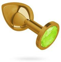 Золотистая средняя пробка с лаймовым кристаллом - 8,5 см, цвет золотой/лайм - МиФ