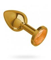 Золотистая анальная пробка с оранжевым кристаллом - 7 см, цвет золотой/оранжевый - МиФ
