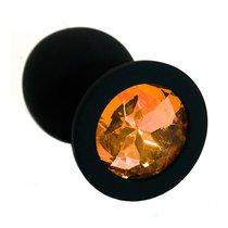 Анальная пробка со стразом Silicone Black - Medium, цвет светло-желтый/черный - Kanikule