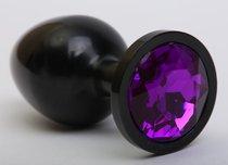 Чёрная анальная пробка с фиолетовым стразом - 8,2 см. - 4sexdreaM
