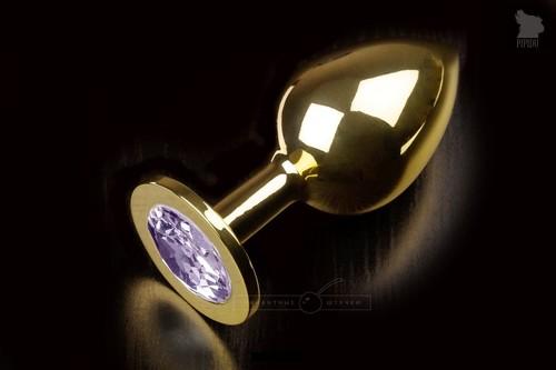 Большая золотая анальная пробка с закругленным кончиком и сиреневым кристаллом - 9 см, цвет сиреневый - Пикантные штучки