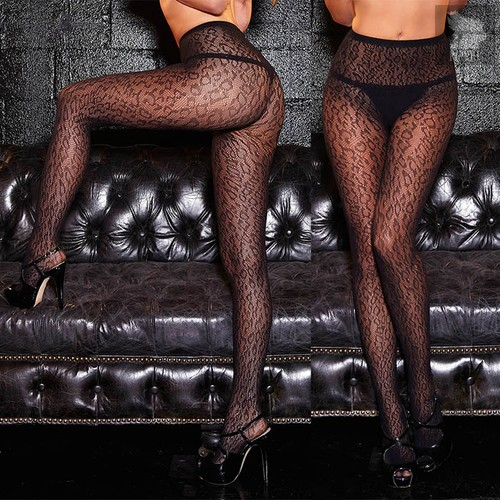 Колготки с леопардовыми пятнышками, цвет черный, S-L - Hustler Lingerie