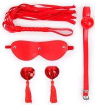 Пикантный набор БДСМ из 4 предметов в красном цвете, цвет красный - Bioritm