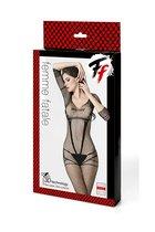 Оригинальный кэтсьюит-сетка с силуэтными линиями - Femme Fatale