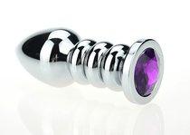 Серебристая фигурная анальная пробка с фиолетовым кристаллом - 10,3 см - 4sexdreaM