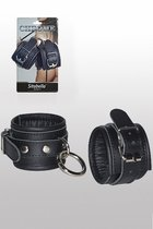 Кожаные наручники с круглым карабином Sitabella Chrome Collection, цвет хром - Sitabella (СК-Визит)