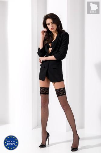 Чулки из мелкой сетки с кружевной резинкой, цвет черный, размер XL - Passion