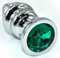 Серебристая анальная пробка из нержавеющей стали с зеленым кристаллом - 8,8 см., цвет зеленый - Kanikule