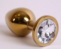 Анальная пробка золото со вставкой белый страз 3,4х8,2 47005-1-MM - Eroticon