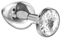 Большая серебристая анальная пробка Diamond Clear Sparkle Large с прозрачным кристаллом - 8 см - Lola Toys