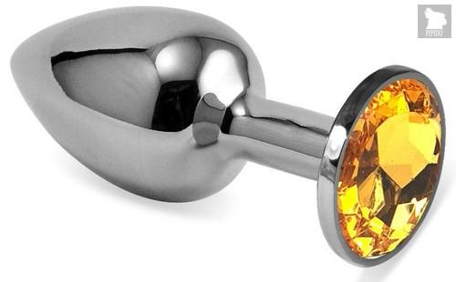 Серебристая гладкая анальная пробка с оранжевым кристаллом - 9 см., цвет оранжевый - Vandersex