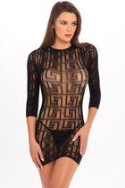 Ажурное облегающее платье с длинным рукавом, цвет черный, M-L - Rene Rofe