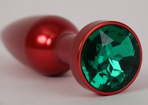 Анальная пробка металл 11,2х2,9см красная с зеленым стразом размер-L 47199-2-MM - Eroticon