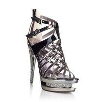 Босоножки, лакированные со стразами, цвет серый - Hustler Shoes