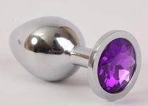 Анальная пробка серебряная с фиолетовым кристаллом 3,4х8,2 47020-1-MM - Eroticon