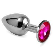 Серебристая анальная пробка с ярко-розовым кристаллом размера S - 7 см, цвет розовый - Vandersex