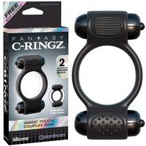 Эрекционное кольцо Magic Touch Couples Ring с 2-мя виброэлементами, цвет черный - Pipedream