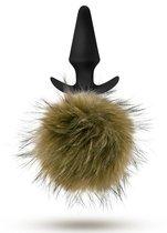 Силиконовая анальная пробка с дымчатым заячьим хвостом Fur Pom Pom - 12,7 см, цвет зеленый - Blush Novelties