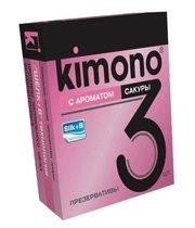 Презервативы KIMONO с ароматом сакуры - 3 шт. - Kimono