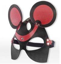 Черно-красная маска мышки из кожи, цвет красный/черный - Sitabella