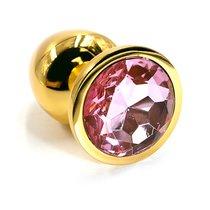 Анальная пробка со стразом Aluminium Gold - Small, цвет золотой/светло-розовый - Kanikule