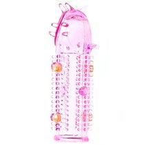 Насадка на фаллос Crazy Fun с шипами бусинками и усиками, цвет розовый - SEXTOY