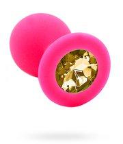 Розовая силиконовая анальная пробка с жёлтым кристаллом - 7 см., цвет розовый/светло-желтый - Kanikule