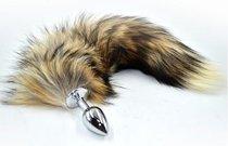 Серебристая анальная пробка из нержавеющей стали с коричнево-бежевым хвостом, цвет бежевый/коричневый - Kanikule
