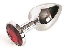 Малая серебристая анальная пробка с красным кристаллом - 6 см - Toyfa