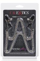 Зажимы на соски NIPPLE PLAY TIERED NIP CLAMPS с цепочкой, цвет серебряный - California Exotic Novelties