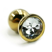 Золотистая алюминиевая анальная пробка с прозрачным кристаллом - 8,4 см., цвет золотой/прозрачный - Kanikule