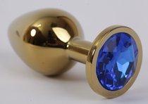 Анальная пробка золото с синим стразом 3,4х8,2 47004-1-MM - Eroticon